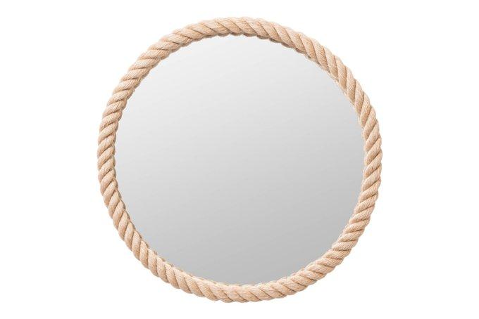 Настенное зеркало в канате светло-коричневого цвета