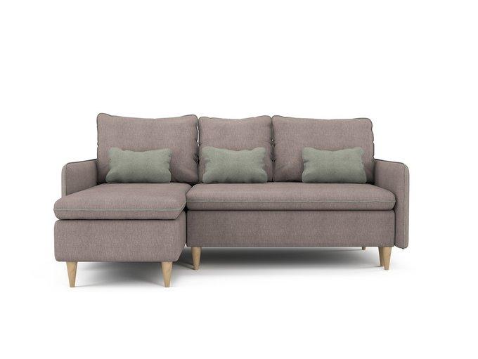 Угловой раскладной диван Ron левый бледно-розового цвета