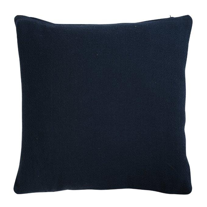 Подушка декоративная Essential из хлопка фактурного плетения темно-синего цвета