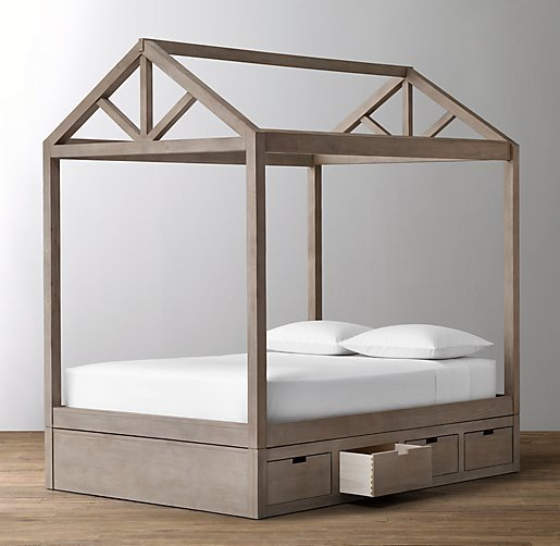 Кровать-домик с ящиками для хранения