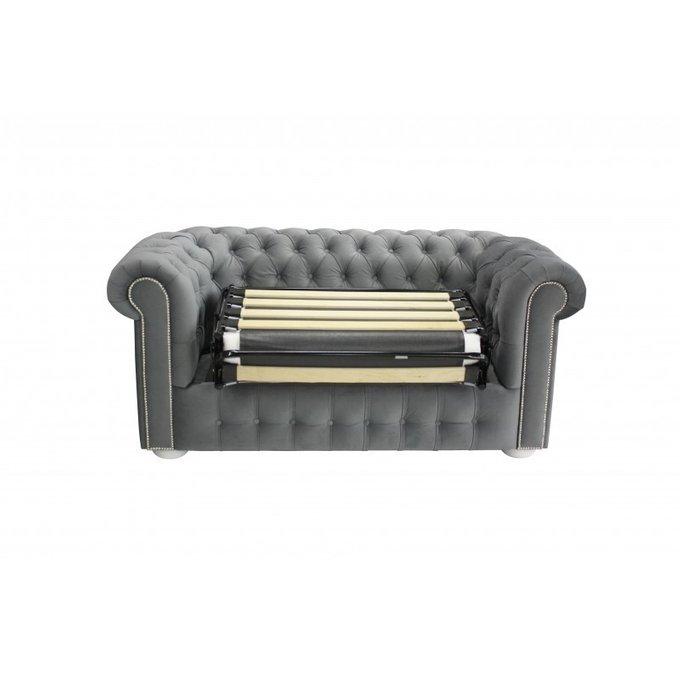 Раскладной двухместный диван Бергамо синего цвета