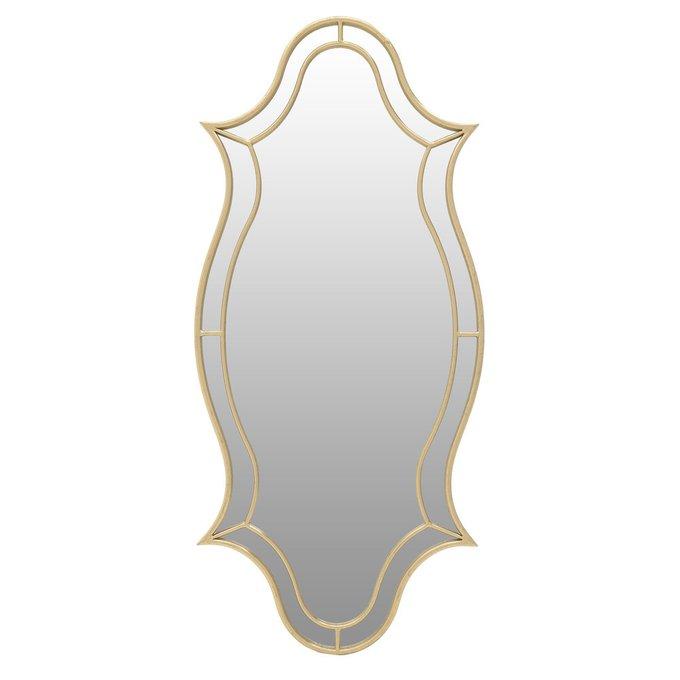 Настенное зеркало в раме золотого цвета