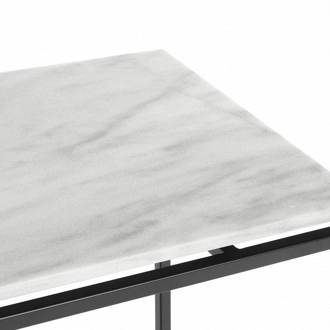 Кофейный стол белый с мраморной столешницей