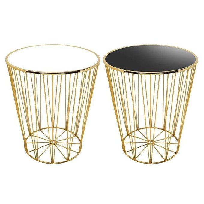 Набор из двух кофейных столиков с каркасом золотого цвета