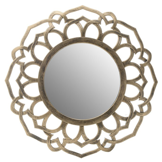 Настенное зеркало в золотой раме из пластика