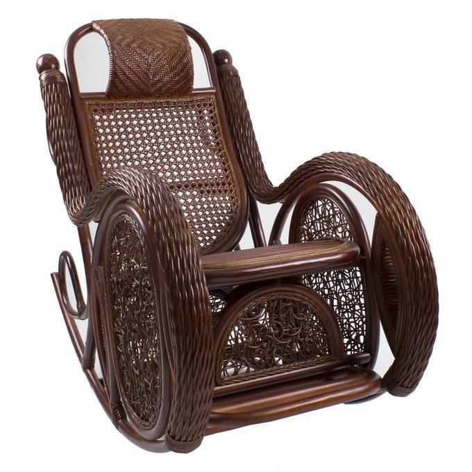 Кресло-качалка из ротанга Alexa с подушкой  коньяк