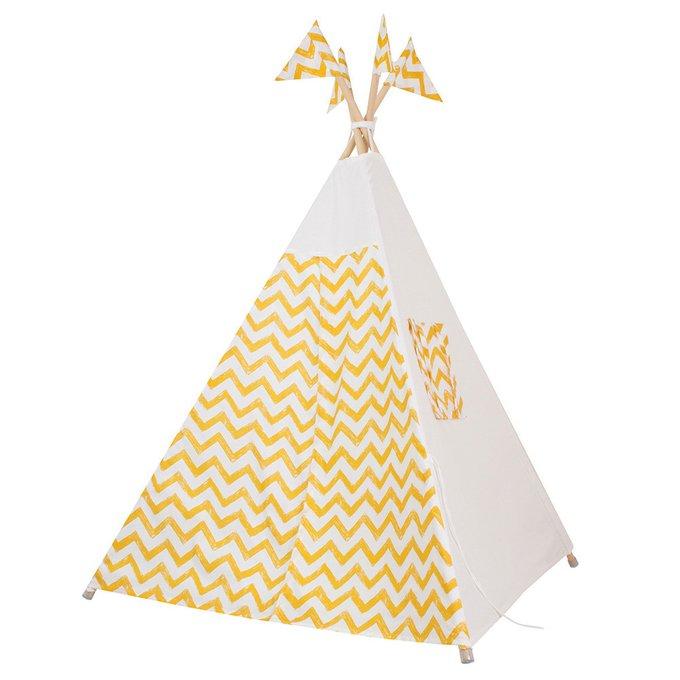 Вигвам для детей Yellow Zigzag из 100% хлопка