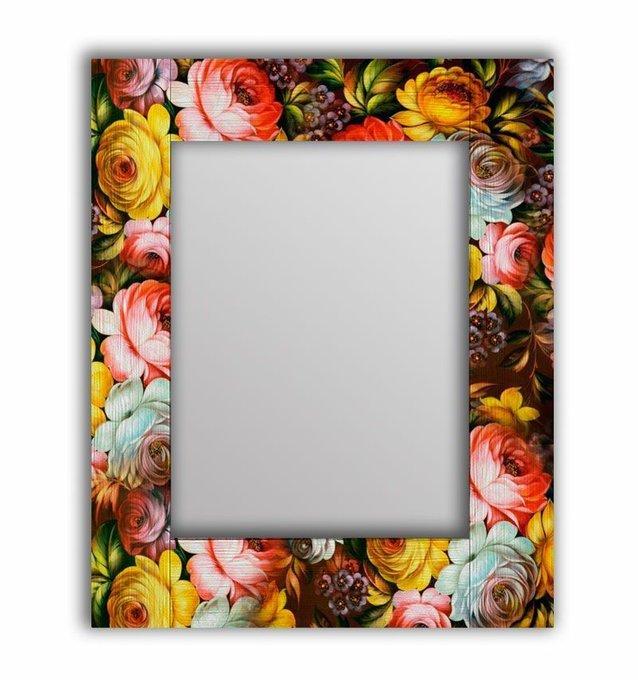 Настенное зеркало Жостовская роспись в раме из массива сосны 90х90