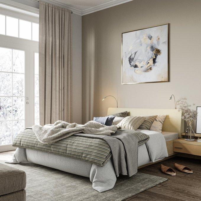 Кровать Элеонора 140х200 бежевого цвета с двумя светильниками