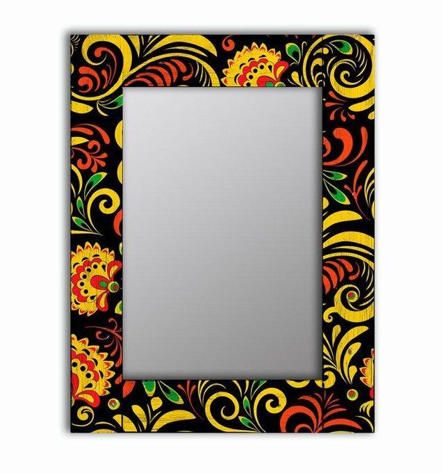 Настенное зеркало Цветочный двор в раме из массива сосны 90х90