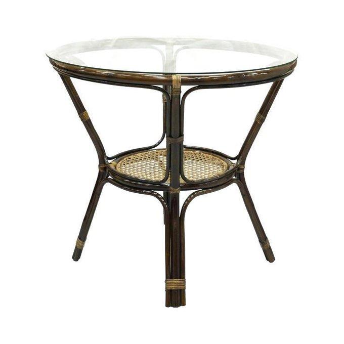 Стол обеденный Ellena из ротанга со стеклянной столешницей