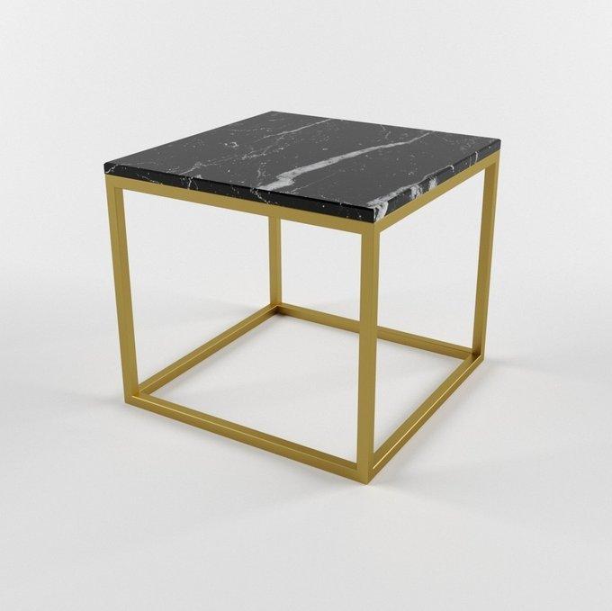 Журнальный столик с мраморной столешницей CUBUS gold