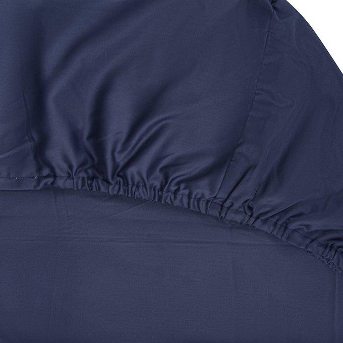 Простыня на резинке Essential из сатина темно-синего цвета 160х200