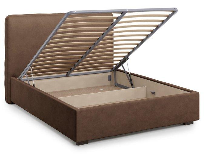 Кровать Brachano 140х200 коричневого цвета с подъемным механизмом
