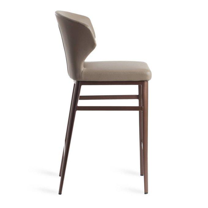 Барный стул в обивке из кожи коричневого цвета