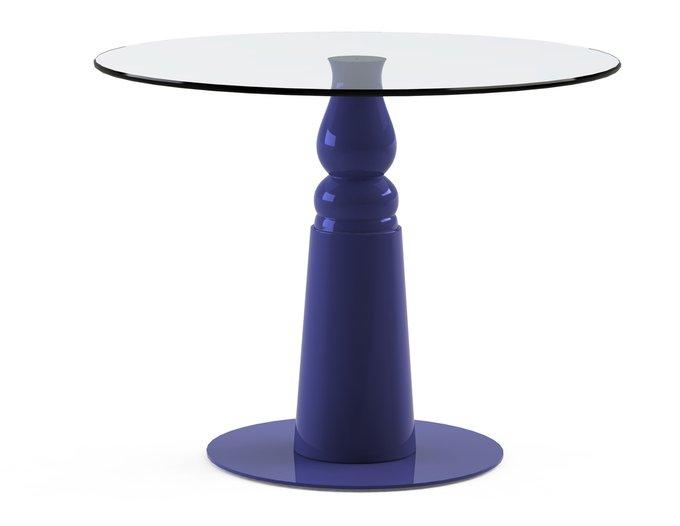 """Обеденный стол """"IGNIS Blue"""" с круглой столешницей из закаленного стекла"""