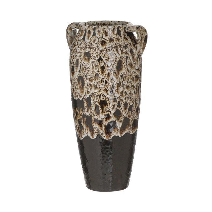 Керамическая ваза черно-бежевого цвета