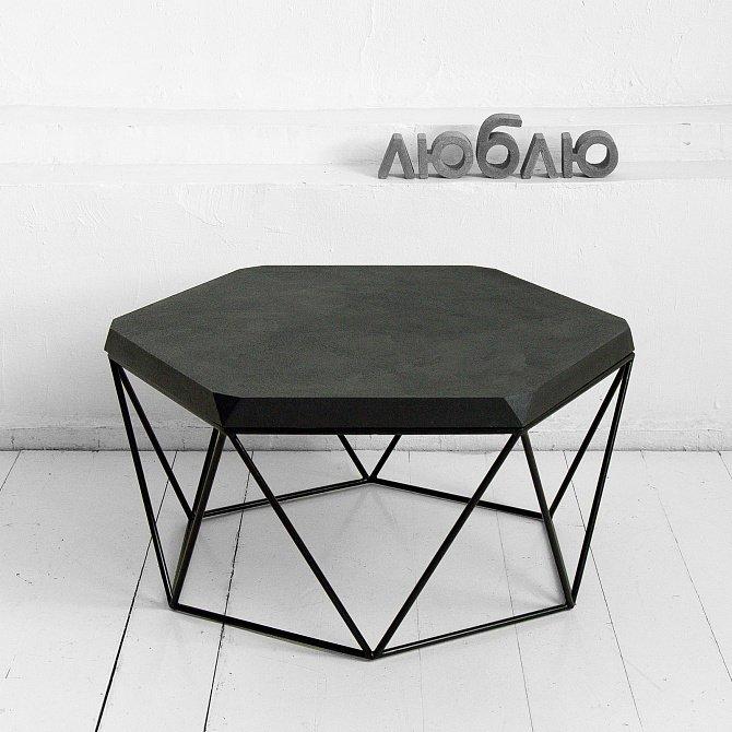 Журнальный стол Гексагон из микроцемента в черном цвете