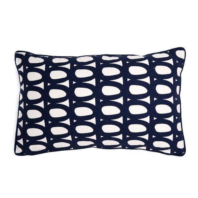 Чехол для подушки с двустронним принтом Twirl темно-синего цвета и декоративной окантовкой