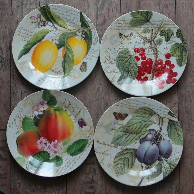 Набор из 4-х тарелок Красная смородина