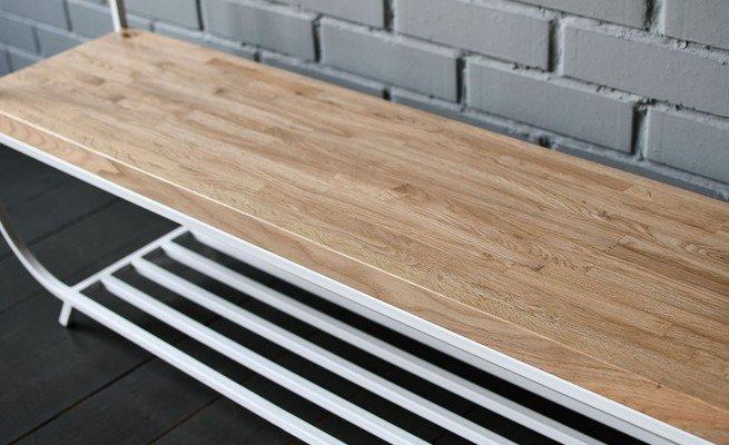 Вешалка Oak Shelf White из металла и дерева