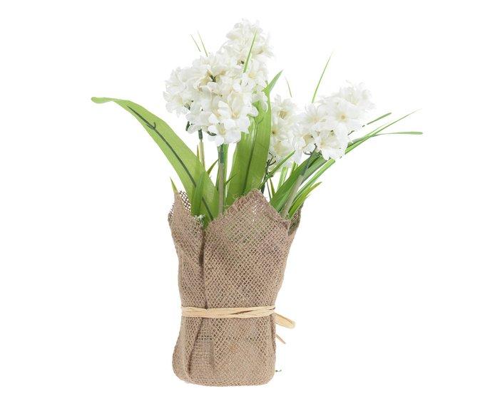 Искусственный цветок в кашпо из джута