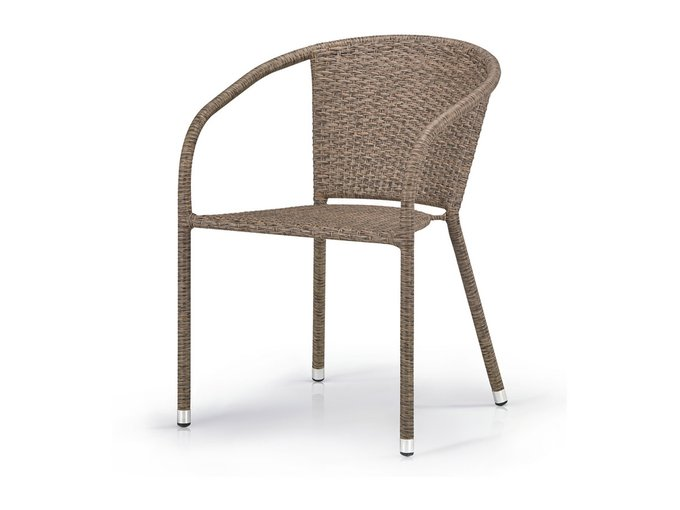 Кресло плетеное из искусственного ротанга коричневого цвета
