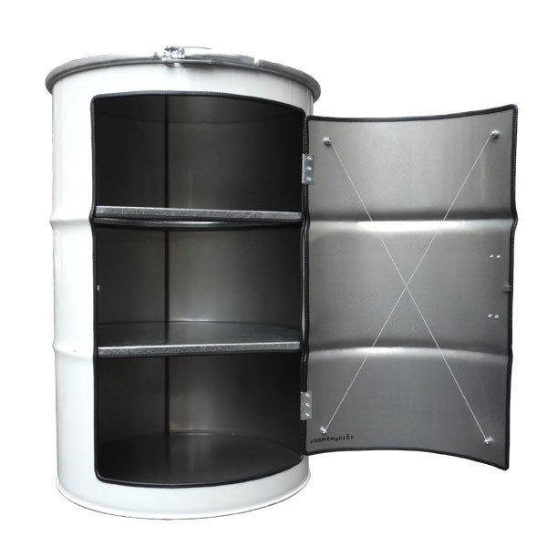 Бочка-шкаф с дверью и полками XL белого цвета