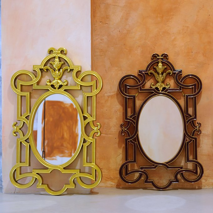Настенное зеркало Аваллон в золотистой раме