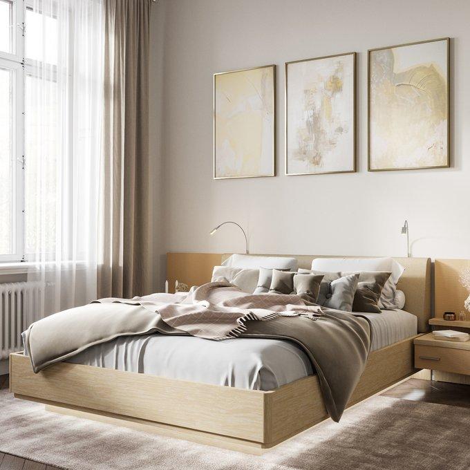Кровать Элеонора 140х200 бежевого цвета и двумя светильниками