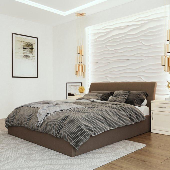 Кровать Инуа 180х200 темно-коричневого цвета с подъемным механизмом