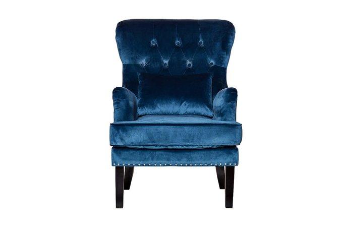 Кресло велюровое синее (с подушкой)