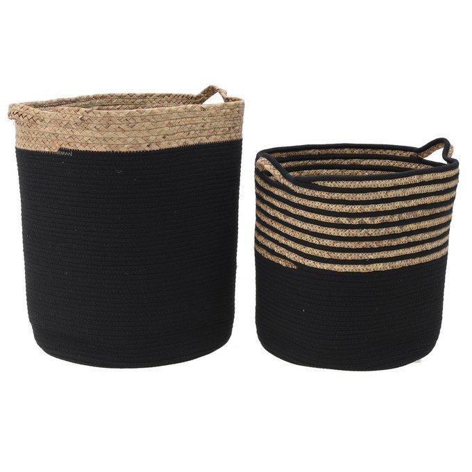 Набор из двух корзин черно-бежевого цвета