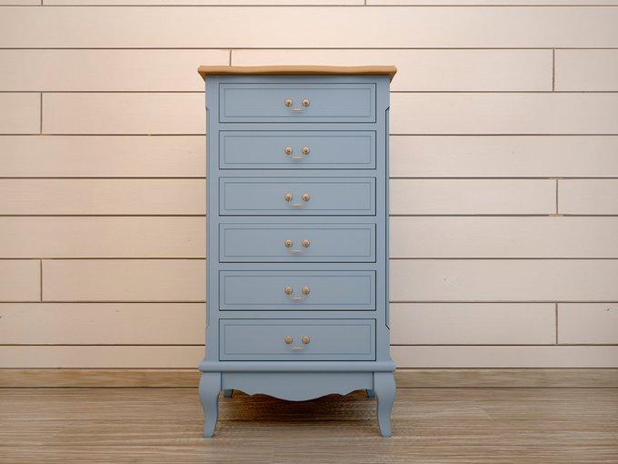 """Голубой комод """"Leontina"""" с шестью ящиками"""