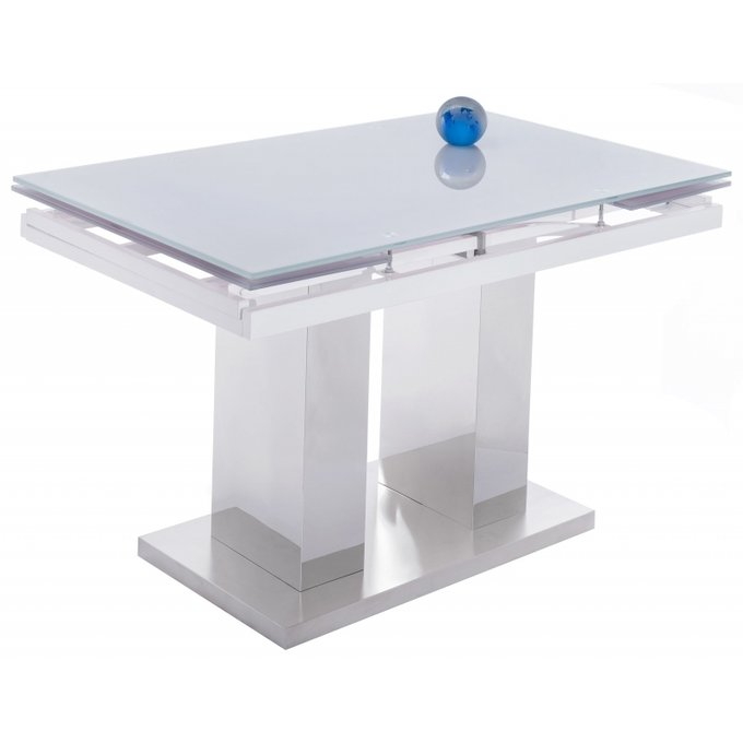 Раздвижной обеденный стол Tandem со стеклянной столешницей