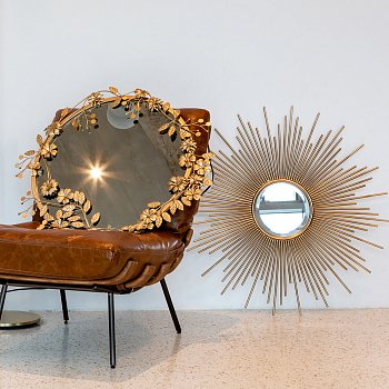 Настенное зеркало Солар золотого цвета