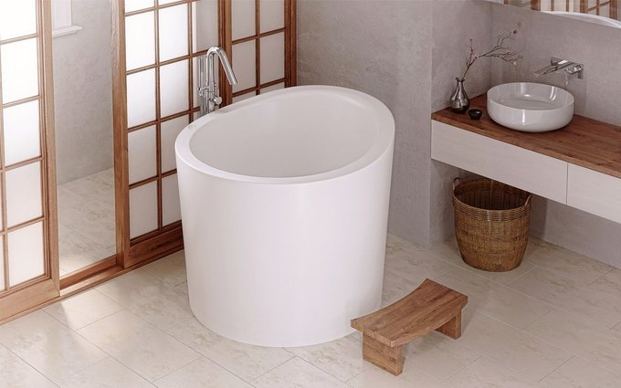 Каменная Ванна True Ofuro Mini Tranquility с Подогревом Воды в Японском Стиле