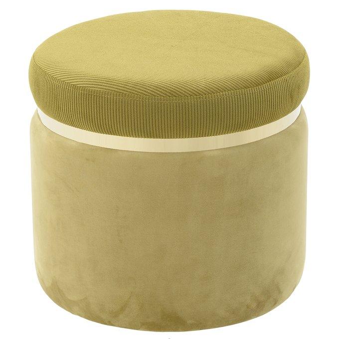 Пуф зеленого цвета с золотым ободком
