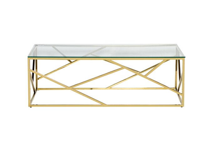 Стол журнальный со стеклянной столешницей золотого цвета