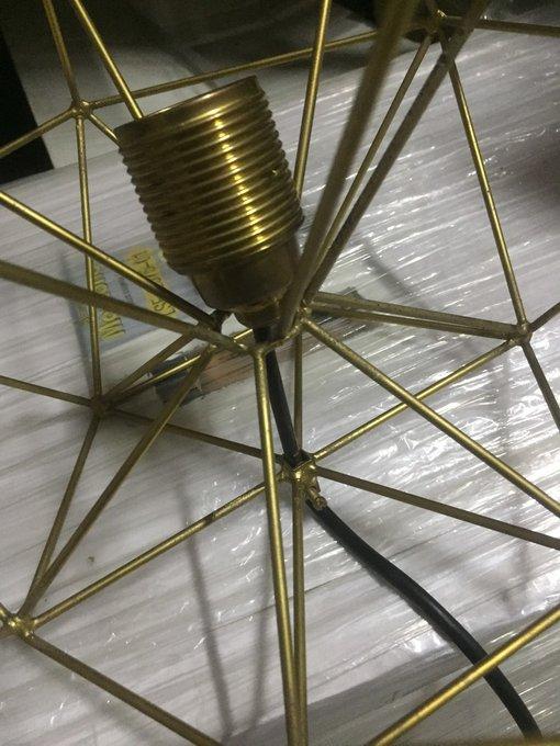 Подвесной светильник Капля из медных прутьев золотого цвета