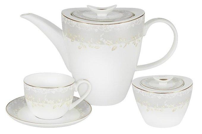 Чайный набор 14 предметов Венок белого цвета