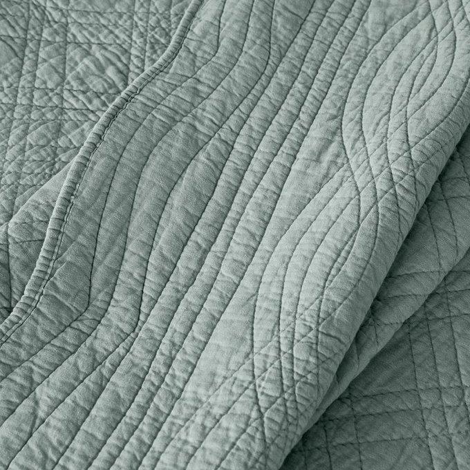 Покрывало Scenario стеганое из хлопка серо-зеленого цвета 140x200