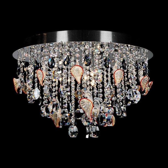 Потолочный светильник Illuminati Emily с подвесками из хрусталя и муранского стекла