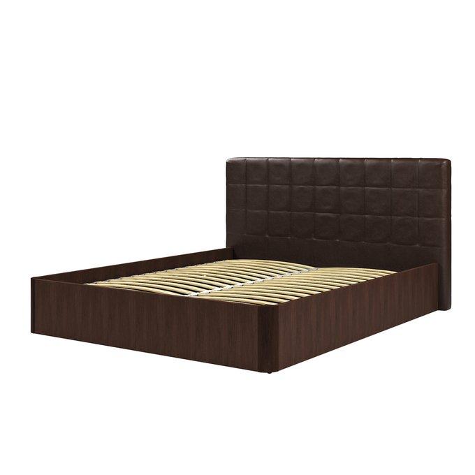 Кровать Магна 140х200 с темно-коричневым изголовьем и подъемным механизмом