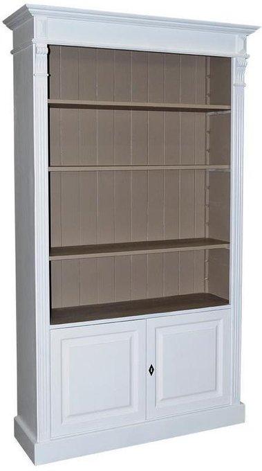 Книжный шкаф  двухдверный Брюгге бело-серого цвета