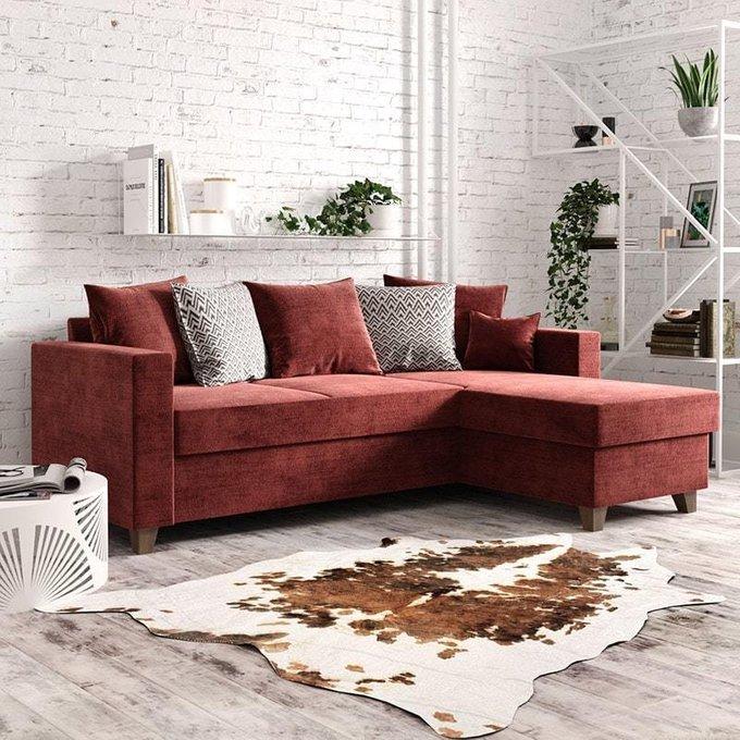 Угловой диван-кровать Эмилио оранжевого цвета
