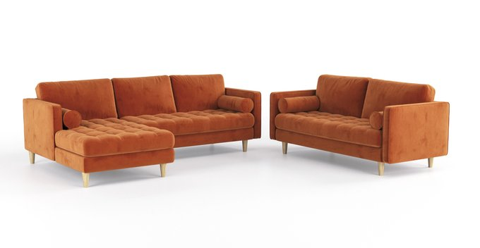Двухместный раскладной диван Scott MTR оранжевый