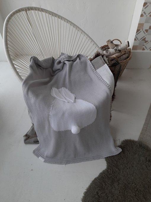 Плед Зайка 75х120 серого цвета