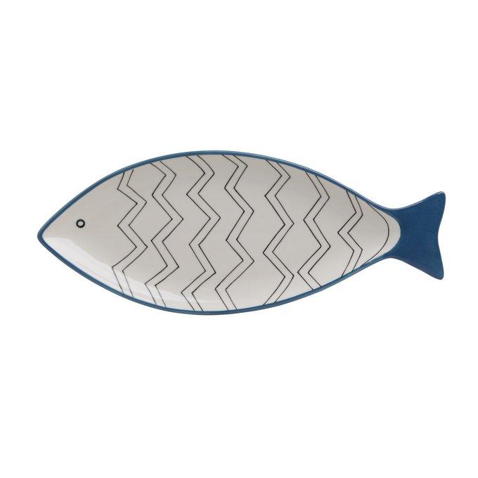 Керамическое блюдо Рыба бело-синего цвета