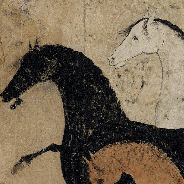 Картина Арабские скакуны Старинная литография Персия 16 век